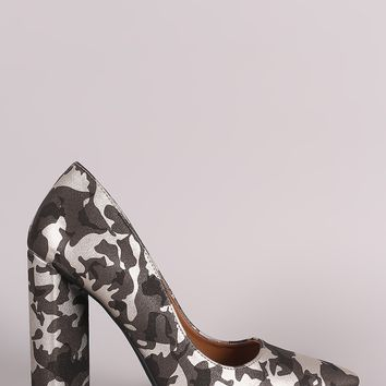 Qupid Camouflage Pointy Toe Chunky Heeled Pump