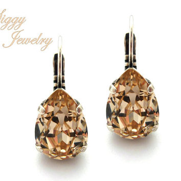 Swarovski® Crystal Pear Shaped Earrings, Light Silk, Champagne Teardrop, Wedding Bridal, Bridesmaids, Drop Lever Back, Assorted Finishes