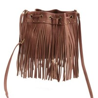 STUDDED FRINGE MINI BUCKET BAG