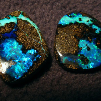 Stunning Pair Bright Blue Australian Boulder Opals. Simply Beautiful Gems 16.65 Carats total. Great Earrings, his hers pendants, Investment