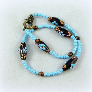 Boot Bling ~ Bracelets for Boots ~ Boot Bracelet ~ Boot Jewelry - Lampwork Bead Boot Bracelet - Turquoise and Brown Boot Bling