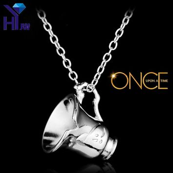 HEYu Once Upon a Time Belle Chipped Tea Cup Pendant Charm Necklace Beauty and the Beast Rumpel Stiltskin Steampunk Necklaces