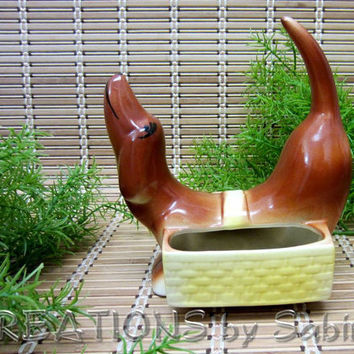 Dachshund Wiener Dog Figurine, Pipe Holder, Flower Pot, Ceramic Weiner Dog Figurine with Baskets, Brown Vintage FREE SHIPPING 118