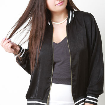 Shine Satin Stripe Trim Bomber Jacket
