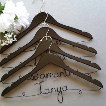 Set of 6 FREE SHIPPING SPRING Sale 15% off Personalized Wedding Hangers, Bridesmaid Hangers, Bridal Party Hangers, Wedding Dress Hanger