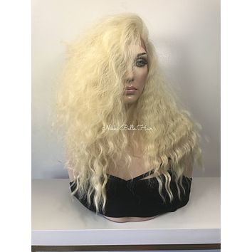Cool Long Blonde Waves Human Hair Blend Lace front wig 16""