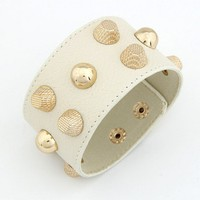 Leather Beige Nail  Bracelet@10041258