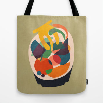 Fruits in wooden bowl Tote Bag by Budi Satria Kwan