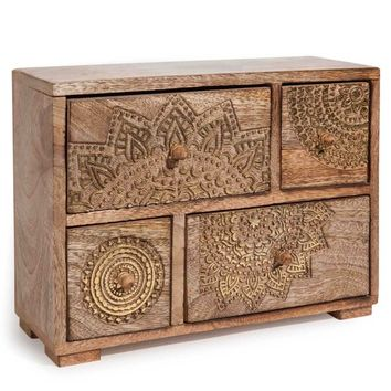 MANDALA gold-tone wooden 4-drawer box H 21 cm | Maisons du Monde
