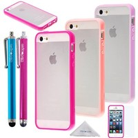 iPhone SE 5s 5 Case, Wisdompro® 3 Packs Colorful Soft TPU Gel + Clear Hard PC Hybrid Bumper Protective Case Covers for Apple iPhone 5/5s/SE