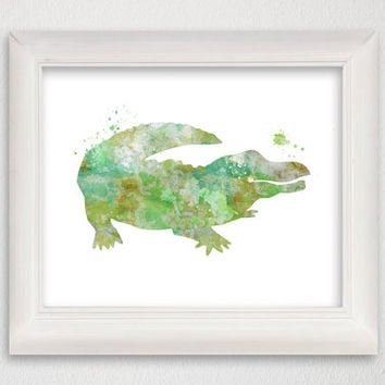 Alligator Art Print, Watercolor Alligator, Alligator Painting, Nursery Art Print, Alligator Poster, Alligator Wall Art, Archival Print