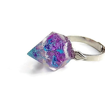 Spike Ring Hologram Galaxy Resin Hardcore Colorful Holographic Stud Colorful Glitter Goth Punk Jewelry Unique Original