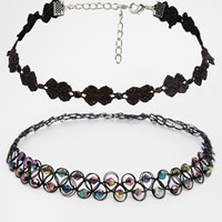 New Look Two Pack Choker Necklace