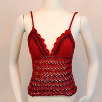 Red Crochet Tank Top - Lace Crop Top - Spaghetti Strap Summer Festival Clothing
