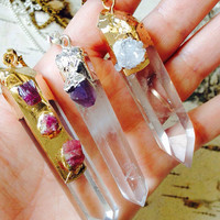 Clear Quartz Crystal and Amethyst Necklace