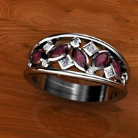 Handmade Rubies and diamonds in Custom Open Band by WroughtGold