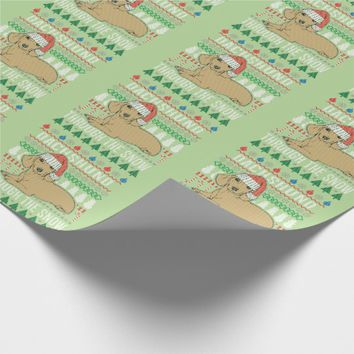 Dachshund Through The Snow Ugly Christmas Sweater Wrapping Paper