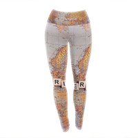 "Sylvia Cook ""Wanderlust Map"" World Yoga Leggings"