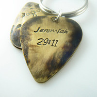 Jeremiah 29 11 Custom Guitar Pick Keychain, Hand Stamped Key chain boyfriend, husband, friend gift, Custom Key Ring, Brass or Aluminum