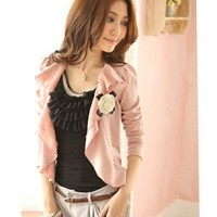 Pink Women Autumn Korean Style Long Sleeve Cotton Short Coat One Size @WH0397p $11.48 only in eFexcity.com.