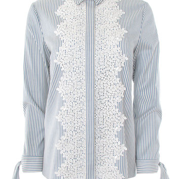 Blue and White Striped Lace Trim Shirt