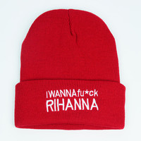 I Wanna Fuck Rihanna Beanie Red Cuffed Skully Hat