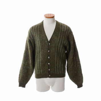Vintage 60s Puritan Mohair Cardigan Sweater 1960s Citation Fuzzy Wool Blend Mid Century Mod Stripe Hipster Rockabilly Sweater / mens M