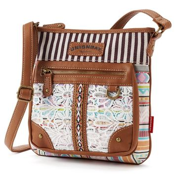 Unionbay Floral Lace Striped Crossbody Bag