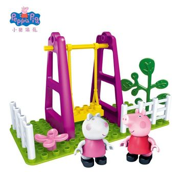 Peppa George Pig Family toys friends school Playground Scene Brick Building Blocks party Decorations For Kids Christmas Gift