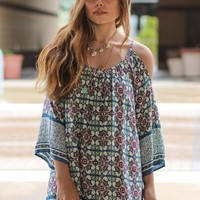 Not Ready To Let Go Tie Back Tunic Dress (Blue)