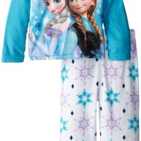 Disney Little Girls' Toddler Frozen Anna and Elsa Cozy Fleece Pajama Set, Multi, 2T