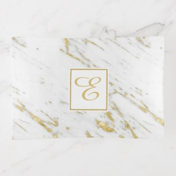 Spotted Gold Frame And Glitter Over White Marble Trinket Trays
