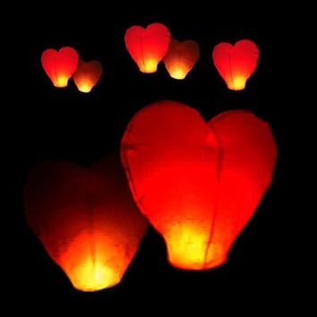 1 pcs Red Heart Sky Lanterns Chinese Paper Sky Candle Fire Balloons for Wedding / Anniversary / Party / Valentine = 1932095620
