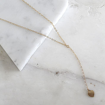 Initial Heart Lariat Necklace