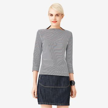 Kate Spade Saturday Striped Long-sleeve Slip Neck Tee In Cotton Jersey