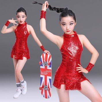 Girls Sequined Ballroom Jazz Hip Hop Dance wear Costumes Kid Performance Modern Party Show Dancing Clothing set Outfits
