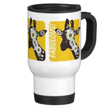 Funky Cool Paisley Giraffe Personalized 15 Oz Stainless Steel Travel Mug