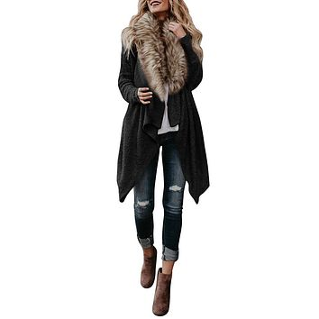 Women Knit Long Sleeve Cardigan Parka