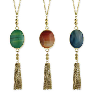 Oval Stone Gold Tassel Long Necklace