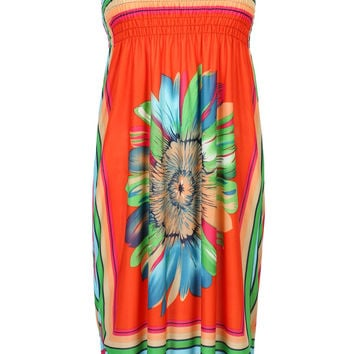 Orange Halter Contrast Stripe And Daisy Print A-line Dress