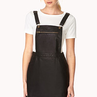 FOREVER 21 Dynamite Faux Leather Overall Dress Black