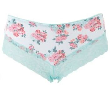 Black Combo Lace-Trim Floral Print Panties by Charlotte Russe