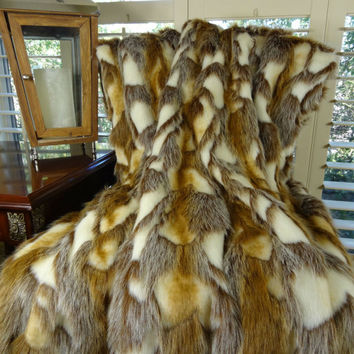 Gold Faux Fur Throw Blanket and Bedspread - Brandy Fox Fur - Gold Light Brown White Faux Fur - Soft Throw Blanket Bedspread - SKU 16403