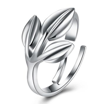 Sterling Silver Pandora Inspired Triple Leaf Branch Adjustable Ring