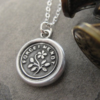 Forget Me Not - wax seal necklace from antique seal with flower in fine silver