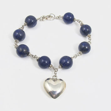 Sterling Silver Lapis Lazuli Bracelet, Puffy Heart Charm Lapis Beaded Links, Stacking Layering Bangle, Blue Lapis Jewelry