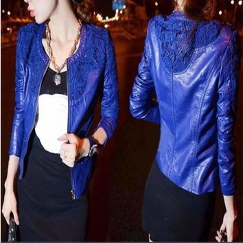 Lovely Lace Leather Winter Outerwear Jacket