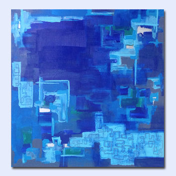 Blue Original Abstract Painting - Contemporary Fine Art - Acrylic on Canvas 20 x 20 x 1 - abstract expressionism