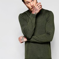 ASOS Merino Wool Crew Neck Sweater in Khaki