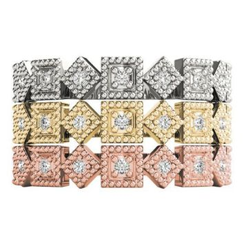 Stackables 1/2 Eternity Tri-Tone Gold Rotating Milgrain Square Bezels 3-Band Set